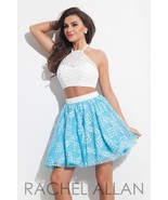 Beaded Lace 2-Pc White Blue Sexy Rachel Allan 4... - $345.00