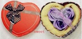 romantic peach heart soap flower towel cotton c... - $16.90