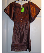 Women's Size Small Brown Shimmery Pleated Top w... - $19.99