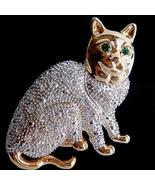 Cat Pin Brooch Large Clear Austrian Crystal Ani... - $16.99