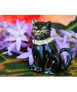 Vintage Monet Black Cat Brooch Pin Enamel Rhine... - $16.95