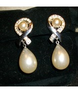 Vintage Trifari Faux Pearl and Rhinestone Drop Earrings - Clip-on - $15.00
