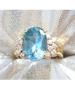 Baroque Aqua & Crystal Cut Glass Sterling Ring ... - $29.95
