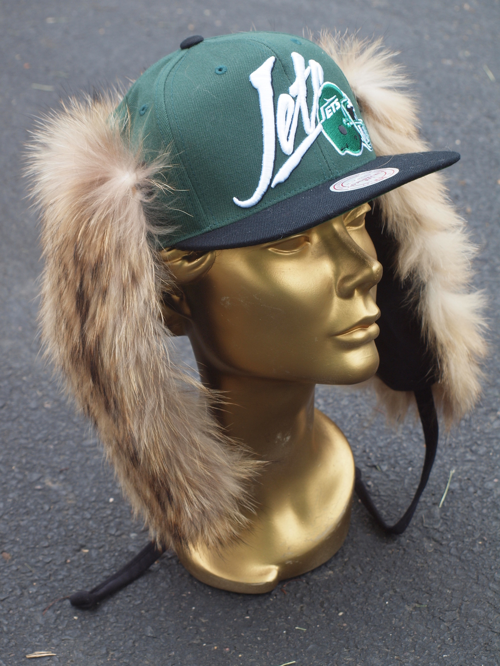 NFL MITCHELL & NESS NEW YORK JETS CUSTOM FUR HAT