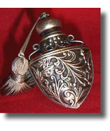 Pewter Laying Tassel Perfume Bottle SteamPunk d... - $28.00