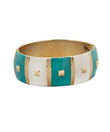 7 Inch Hinged White and Turquoise Blue Enamel P... - $11.99