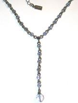 Signed 1928 Necklace Blue rhinestone Y antiqued... - $10.00