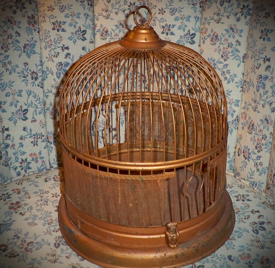 Decorative  Vintage Bird Cage Copper Color Metal Hanging Warming House Gift Anti