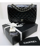 CHANEL MAXi XL JUMBO Black Quilted PATENT Leath... - $4,439.00