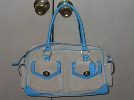 Authentic Coach Beige Turquoise Biscotti Suede ... - $179.00