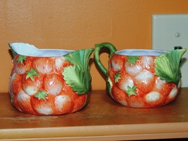 Hand Painted Creamer & Sugar Strawberry pattern... - $54.99