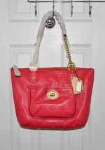 Coach Poppy Eyelet Small Tote Leather Chain Sho... - $179.00