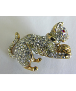 Goldtone Clear Rhinestone Cat With Ball Vintage Pin Brooch Unmarked