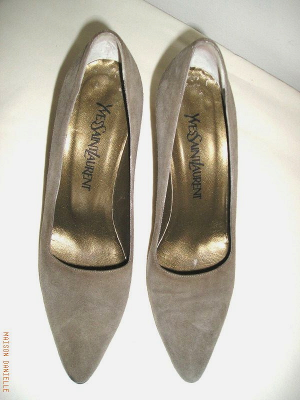 Classic Authentic YVES St LAURENT Taupy Grey Genuine SUEDE Heels Shoes 7.5