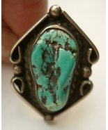 Vintage Navajo Ring with Turquoise Nugget Sz 7 - $60.00