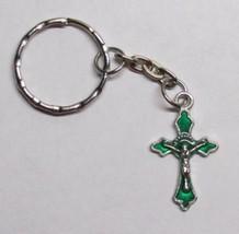 GREEN Enamel Metal CRUCIFIX w Chain Jesus Cross... - $5.94