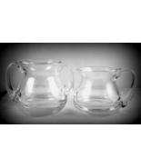 Heavy clear glass open sugar bowl creamer set s... - $20.00
