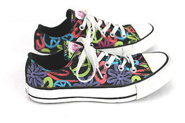 CONVERSE ALL STAR BLACK CANVAS PEACE SIGNS FLOR... - $24.99