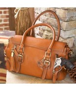 Concealed Carry Aged Brown Leather Satchel Purse - $319.99