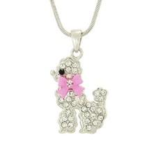 POODLE w Swarovski Crystal Dog Pink Bow Ribbon ... - $29.00