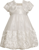 Little Girl 2T-6X White Die Cut Bonaz Rosette Border Bubble Dress/Jacket Set