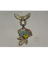 Vintage Pin Silvertone Rhinestones Flowers Whit... - $65.00