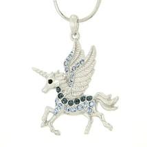W Swarovski Crystal UNICORN Blue Flying Pegasus... - $29.00