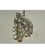 Vintage Brooch Silvertone Rhinestones Faux Pearls - $55.00