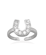 Rhodium Plated Sterling Silver Horseshoe Toe Ri... - $26.87