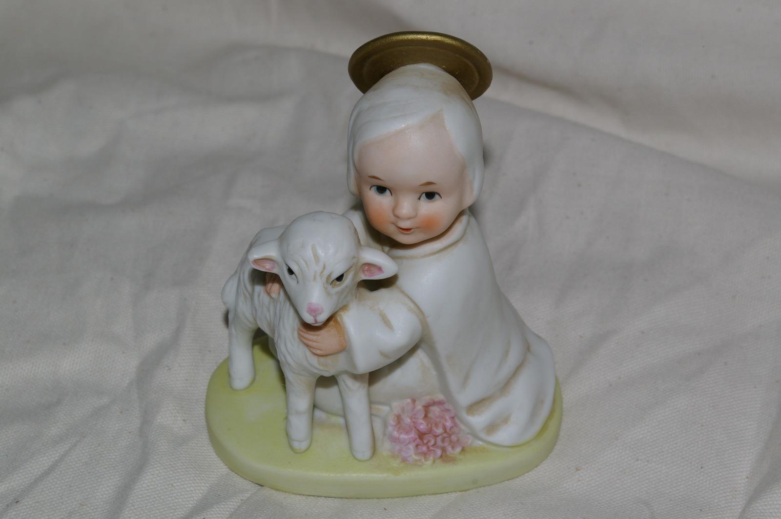 Homco Angel With Lamb Figurine 5605 Home Interiors Figurines