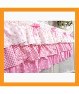 valances curtain pink ruffle cotton window trea... - $30.00