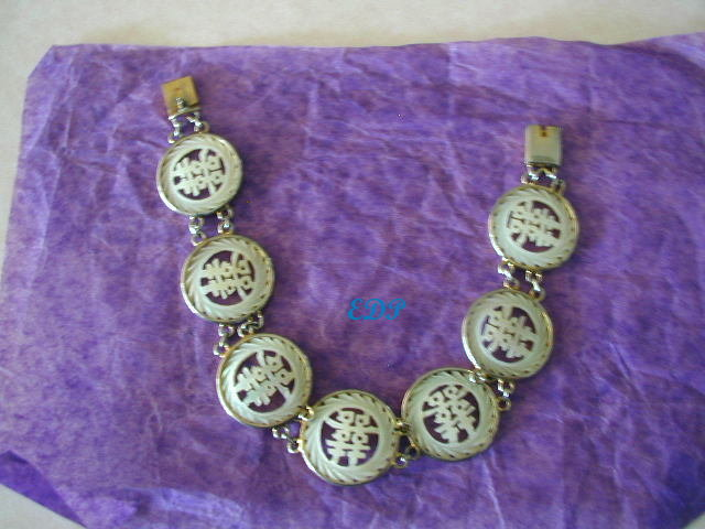 Oriental Mother Of Pearl Disk Bracelet Chinese Writing