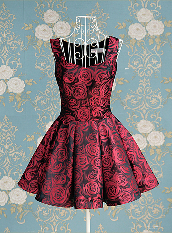 2012_spring_summer_borcade_dress_red_roses_front