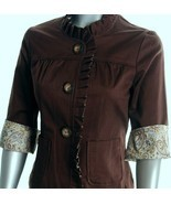 New Brown cotton shirt jacket Paisley trim XL R... - $29.99