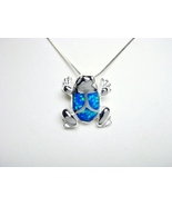 925 Sterling Silver Hawaiian Blue Opal Frog Cha... - $17.00