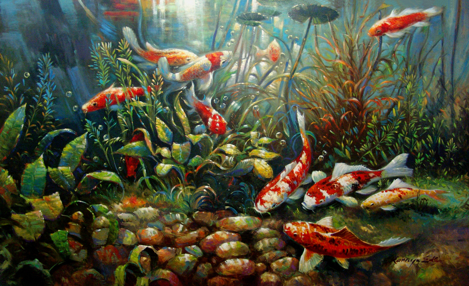 36in x 60in original oil on canvas tropical koi fish for Original koi fish