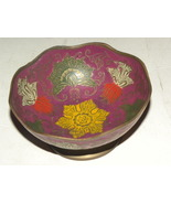Vintage Nut Cup Brass Cloisonne Enamel Red yell... - $35.00