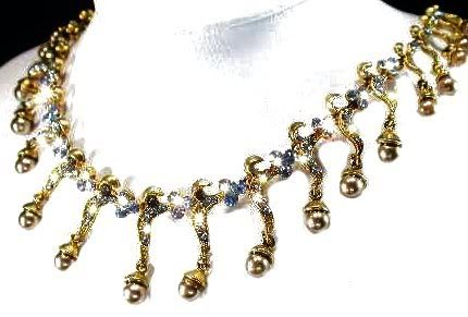 Wedding Necklace Set Darkened Gothic Gold Tone  Blue Crystals New