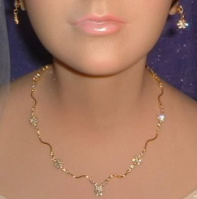 Delicate Wedding Necklace & Earring Set w/Crystals