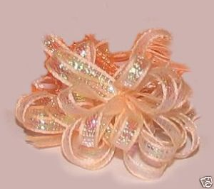 36 in a Box Peach Iridescent Organza Ribbon Bows Gift Favors