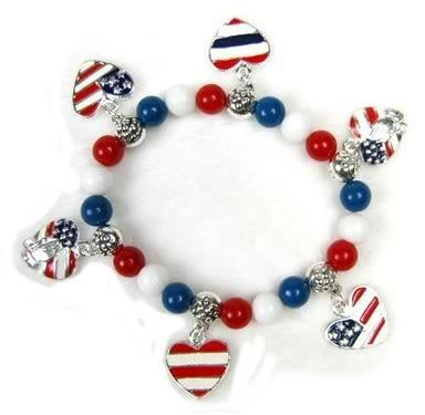 USA Patriotic Hearts Charm Bracelet w/Praying Hands