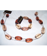 Elegant Long silver and brown bead necklace and... - $10.00