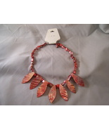 Orange Shell looking earring and necklace set - $8.00