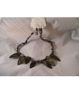 Black Shell like necklace with earrings - $8.00