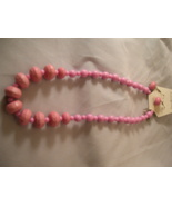 Large pink beaded necklace and earring set - $8.00