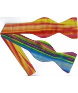 (1)SELF-TIE BOW TIE-BRIGHT STRIPES (HAND-DYED BATIK) - $12.99