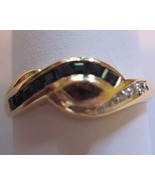 18K Solid Yellow Gold Natural Sapphire Ruby Dia... - $275.00