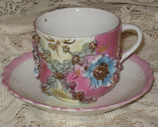 VTG Lusterware/Applied Flowers w/ Gold Teacup &Saucer - Germany
