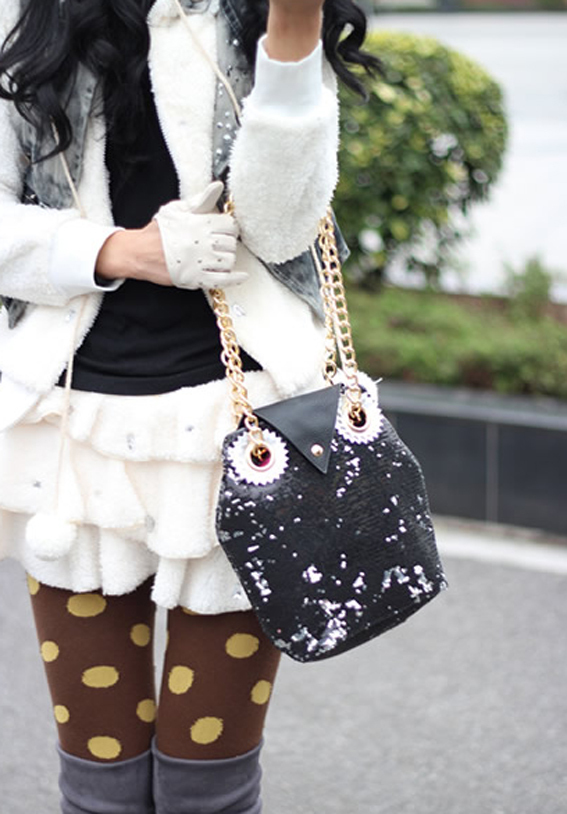 Lovely Sequins Embellished Black Owl Handbag. Bling. Weekend Bag. Sling Bag