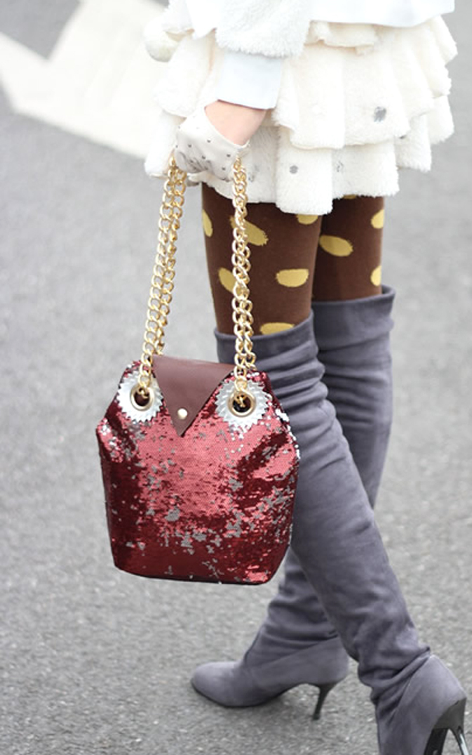 Super Cute Burgundy Sequins Owl Handbag. Fashionista Weekend Bag. Sling Bag